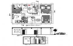 Single story house section and layout plan cad drawing details dwg file