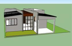Single story modern house 3d model skp file