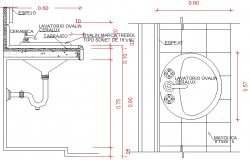 Sink elevation and plan detail dwg file
