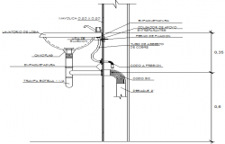 Sink installation details of bathroom dwg file