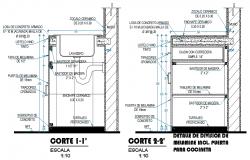 Sink section plan detail dwg file