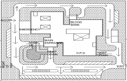 Site Plan of Multi-Flooring Private Hospital dwg file