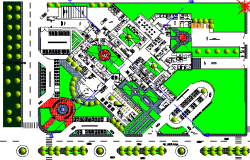 Site Plan of Multi-Specialty Hospital dwg file