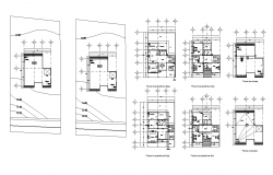 Site and construction plan of housing building structure detail autocad file