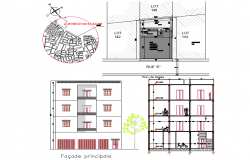 Site plan and elevation home plan detail dwg file