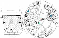 Site plan and location map of shopping center dwg file