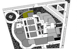 Site plan detailed view of city cultural center dwg file