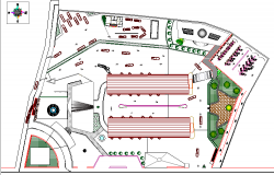 Site plan details of bus terminal of city dwg file