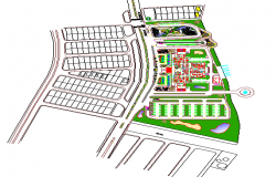 Site plan details of five star hotel with landscaping dwg file