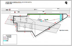 Site plan details of garden with sports field dwg file