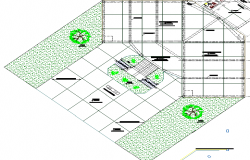 Site plan details with landscaping of city council office dwg file