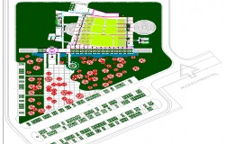 Site plan details with landscaping of congress center office building dwg file