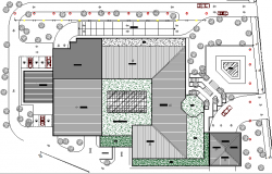 Site plan details with landscaping of finance building dwg file