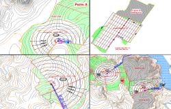 Site plan layout view detail, surveying topography data detail dwg file