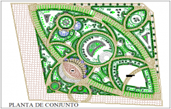 Site plan layout view detail of park garden detail view dwg file
