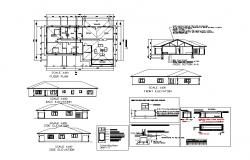 Site plan of Residential house with foundation details and elevation in dwg file