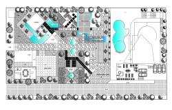 Site plan of Villa with detail dimension in dwg file