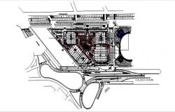 Site plan of a commercial building with detail dimension in AutoCAD