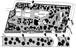 Site plan of bank building design in dwg file