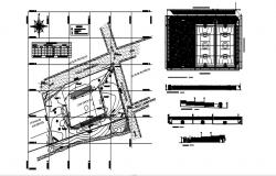 Site plan of building with a detail dimension in AutoCAD