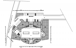 Site plan of office building design in autocad