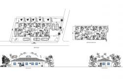 Site plan of residential apartment 30.500mtr x 15.300mtr  with elevation in dwg AutoCAD