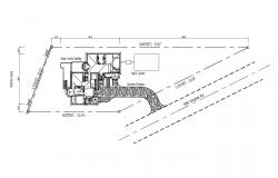 Site plan of the house with detail dimension in dwg file