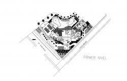 Site plan of the restaurant building with detail dimension in AutoCAD