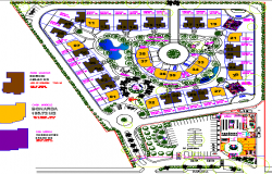 Site plan of villa architecture project dwg file
