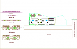 Site plan view of hospital with floor,sectional and elevation view dwg file