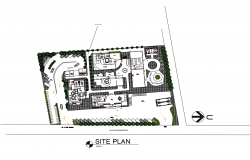 Site plan with distribution of corporate office building cad drawing details dwg file