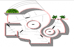 Site plan with landscaping details of corporate office dwg file