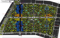 Site plan, landscaping details of housing commerce building dwg file