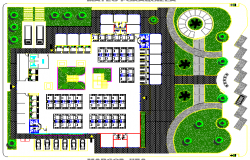 Site plan with landscaping details of shopping center dwg file