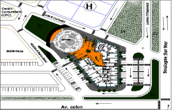 Site plan with landscaping details of shopping mall dwg file