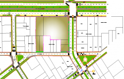 Site plan with landscaping of office building dwg file