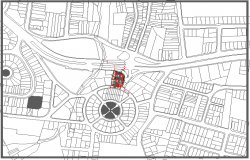 Site plan with location map details of shopping mall dwg file