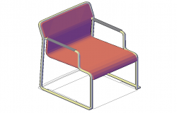 Sitting chair 3d model detail elevation autocad file