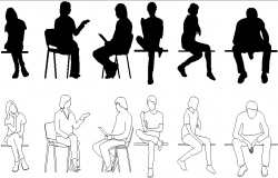 Sitting people detail dwg file
