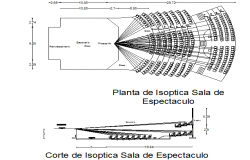 Sitting theater plan and section detail dwg file