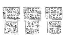 Six flooring administration building floor plan cad drawing details dwg file