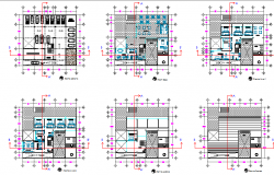 Six flooring hotel with boutique floor plan layout details dwg file