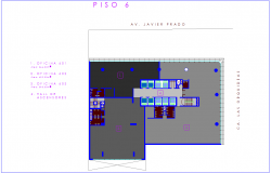 Sixth floor plan with architectural view of office dwg file