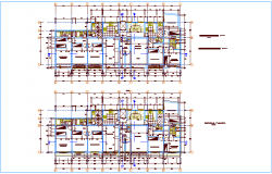 Sixth to eighth floor plan of house with architectural view dwg file