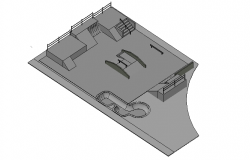 Skate park design top  view 3d