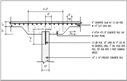 Slab in wall detail dwg file
