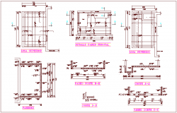 Slab view with elevation and section for valve chamber area dwg file