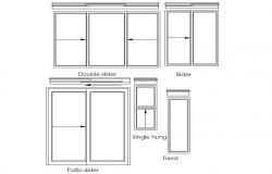 Slider window elevation with different design block dwg file