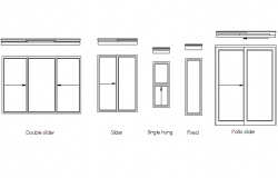 Slider window plan and elevation detail dwg file