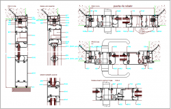 Sliding door to rebut design view dwg file